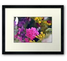 Watercolor style painted colorful flowers. Framed Print
