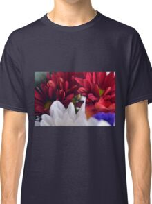 White and red flower petals, delicate natural background. Classic T-Shirt