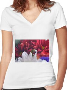 White and red flower petals, delicate natural background. Women's Fitted V-Neck T-Shirt