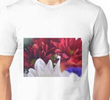 White and red flower petals, delicate natural background. Unisex T-Shirt