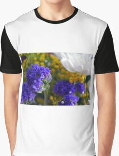 Flowers composition, purple, blue, yellow and white petals. Graphic T-Shirt