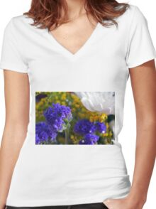 Flowers composition, purple, blue, yellow and white petals. Women's Fitted V-Neck T-Shirt