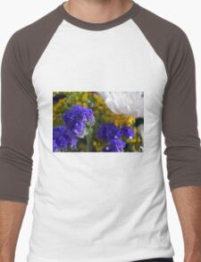 Flowers composition, purple, blue, yellow and white petals. Men's Baseball ¾ T-Shirt