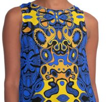 Miniature Aussie Tangle 13 Pattern in Blue and Gold Tones Contrast Tank