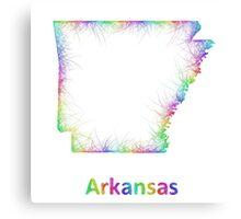 Rainbow Arkansas map Canvas Print