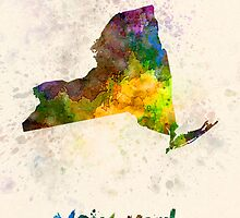 New York US state in watercolor by paulrommer