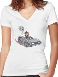 Calvin and Hobbes Back Future Women's Fitted V-Neck T-Shirt