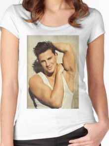 CHANNING TATUM POSE Women's Fitted Scoop T-Shirt