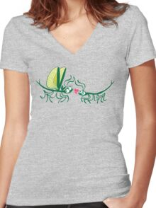 Stick insects shyly falling in love Women's Fitted V-Neck T-Shirt