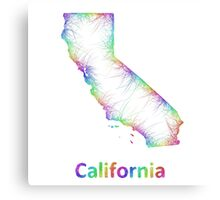 Rainbow California map Canvas Print