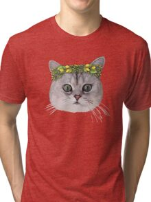 Flower Cat Tri-blend T-Shirt