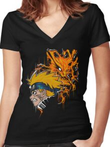 Demon Fox Women's Fitted V-Neck T-Shirt