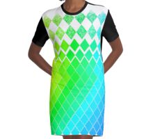 GreenYellowBlue Pattern Graphic T-Shirt Dress