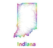 Rainbow Indiana map Photographic Print