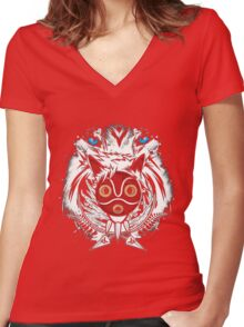 Forest Spirit Protector Women's Fitted V-Neck T-Shirt