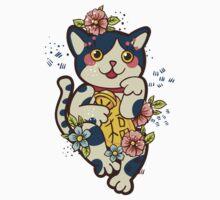 Happy Japanese cat Maneki-neko. Traditional mascot  One Piece - Short Sleeve