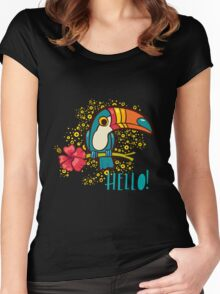 Bird Toucan tropical hibiscus flower in cartoon style.  Women's Fitted Scoop T-Shirt