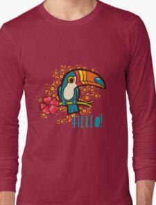 Bird Toucan tropical hibiscus flower in cartoon style.  Long Sleeve T-Shirt