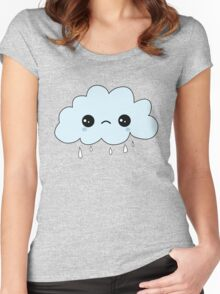 Cute Crying Cloud  Women's Fitted Scoop T-Shirt