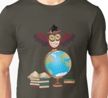Owl with Globe 2 Unisex T-Shirt