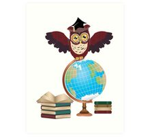 Owl with Globe 2 Art Print