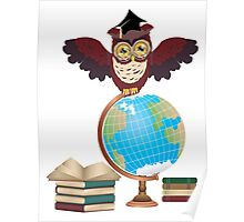 Owl with Globe 2 Poster