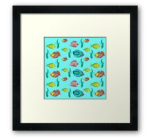 marine fish for a blue background Framed Print