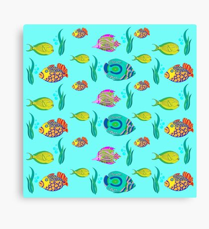 marine fish for a blue background Canvas Print