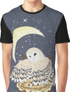 Barn Owl on a Tree Stump 2 Graphic T-Shirt