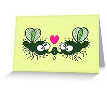 Ugly flies kissing and falling in love Greeting Card