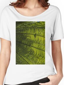 Tropical Green Rhythms - Feathery Fern Fronds - Right Vertical View Women's Relaxed Fit T-Shirt