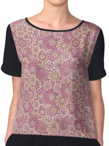 pink retro doodle floral seamless pattern Chiffon Top