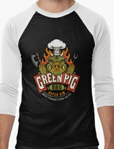 Green Pig BBQ Men's Baseball ¾ T-Shirt