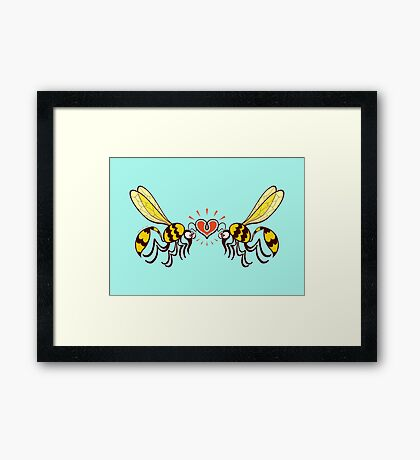 Couple of beautiful wasps deeply falling in love Framed Print