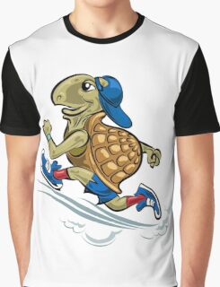 Running Turtle in sporting shoes and hat.  Graphic T-Shirt