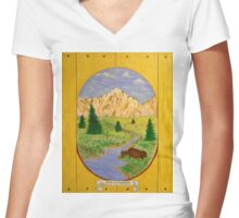 Bison in the Meadow Women's Fitted V-Neck T-Shirt