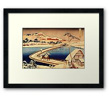 The swimming bridge of Sano - Hokusai - Views of Mount Fuji Print Framed Print