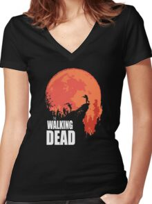Zombie Nights Women's Fitted V-Neck T-Shirt