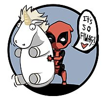 Deadpool and the unicorn Photographic Print