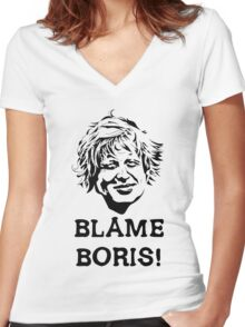 Blame Boris! Women's Fitted V-Neck T-Shirt