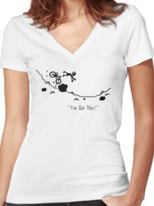 Cyclist Falls Off Bike Women's Fitted V-Neck T-Shirt