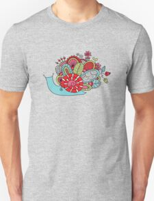 Cute Snail with Flowers & Swirls in Bright Colours Unisex T-Shirt