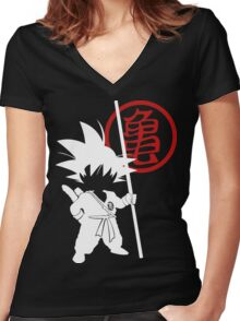 Little Goku Women's Fitted V-Neck T-Shirt