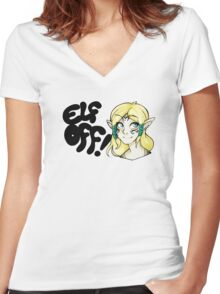 Races- Elf Off! Women's Fitted V-Neck T-Shirt
