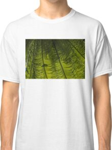 Tropical Green Rhythms - Feathery Fern Fronds - Horizontal View Down Right Classic T-Shirt