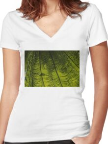 Tropical Green Rhythms - Feathery Fern Fronds - Horizontal View Down Right Women's Fitted V-Neck T-Shirt
