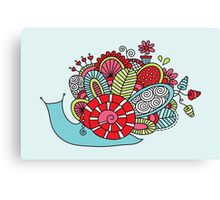 Cute Snail with Flowers & Swirls in Bright Colours Canvas Print