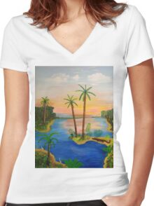 My Florida Art Women's Fitted V-Neck T-Shirt