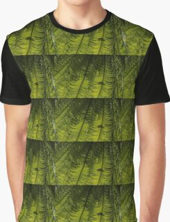 Tropical Green Rhythms - Feathery Fern Fronds - Horizontal View Down Left Graphic T-Shirt