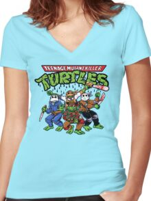Killer Turtles Women's Fitted V-Neck T-Shirt